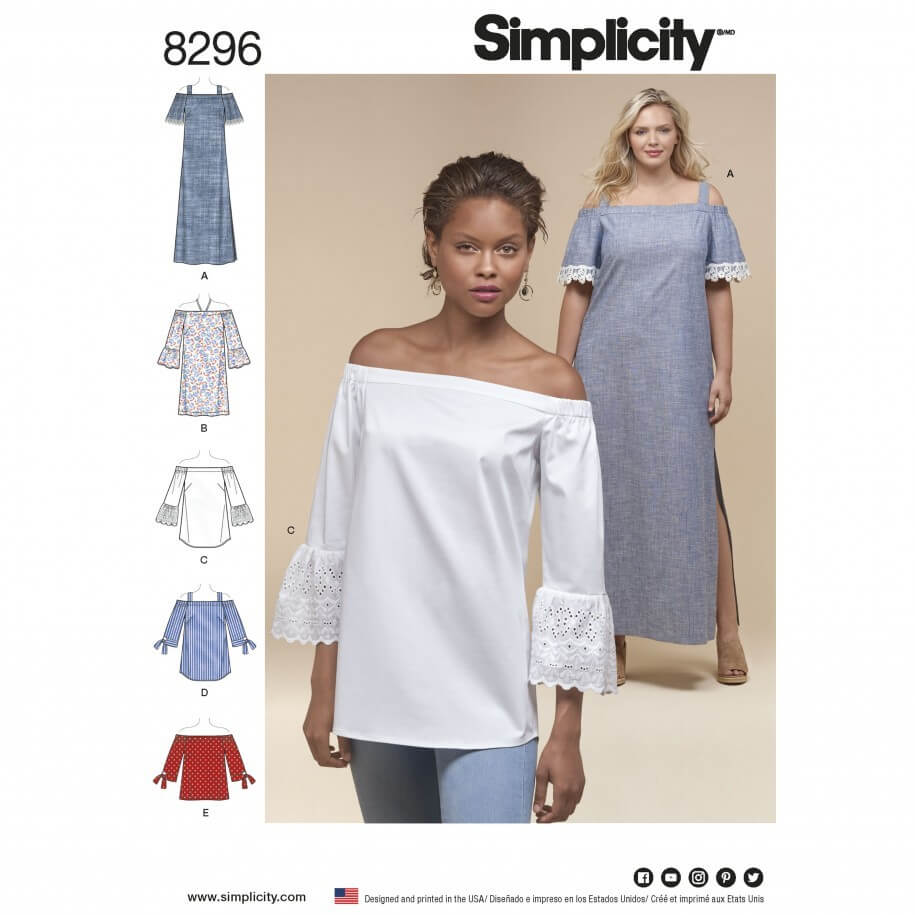 Misses' Off the Shoulder Tops and Dresses Simplicity Sewing Pattern 8296