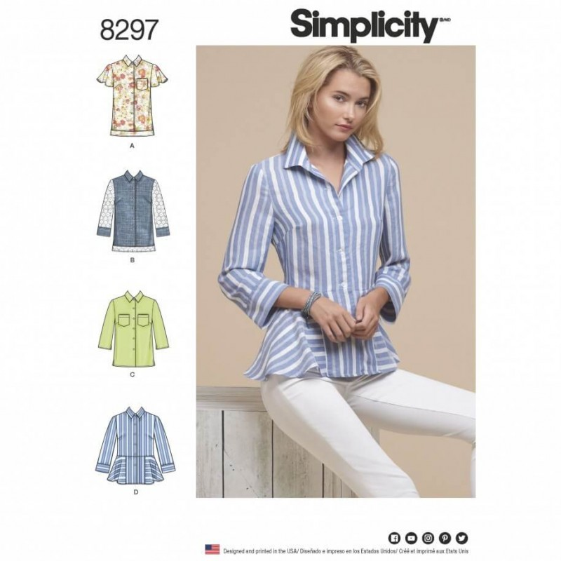 Misses' Blouses and Shirts with Variations Simplicity Sewing Pattern 8297