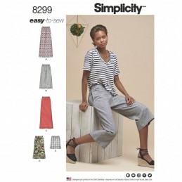 Misses' Skirts or Trousers in Various Lengths Simplicity Sewing Pattern 8299
