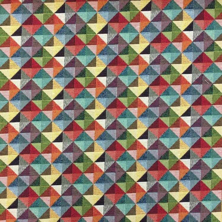 New World Mini Geometric Pyramids Tapestry 80% Cotton 20% Polyester Fabric 140cm