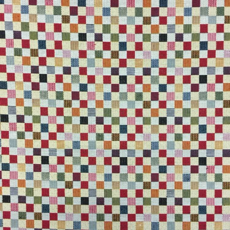 New World Mini Check Squares Tapestry 80% Cotton 20% Polyester Fabric 140cm