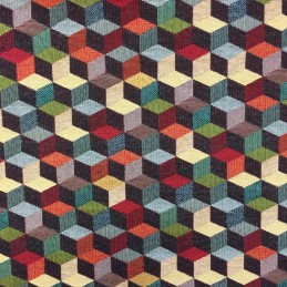 New World Geometric Cube Staircase 80% Cotton 20% Polyester Fabric 140cm Wide