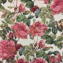 New World Full Blooming Rose Bush Floral 80% Cotton 20% Polyester Fabric 140cm