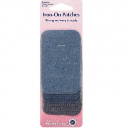 Hemline 9 Iron On Repair Patches 3 Assorted Denim Colours 7.5 x 5cm Mending