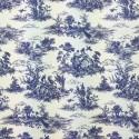 Navy Toile Victorian Days Cotton Linen Look Upholstery Panama Fabric
