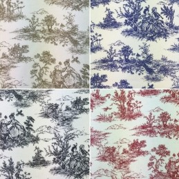 Sale Cotton Rich Linen Look Upholstery Fabric Toile Victorian Days 140cm Wide