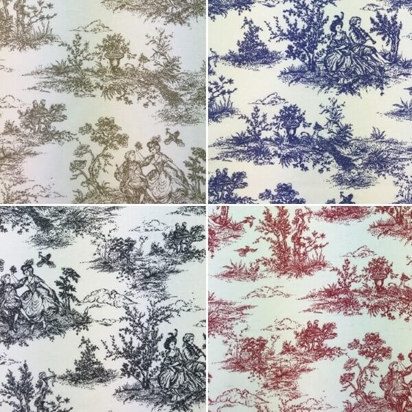 Beige Toile Victorian Days Cotton Linen Look Upholstery Panama Fabric