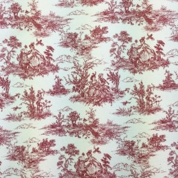 Red Toile Victorian Days Cotton Linen Look Upholstery Panama Fabric
