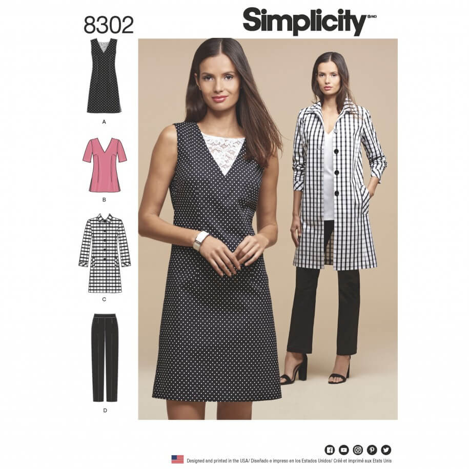 Misses' Dress or Tunic, Trousers and Unlined Coat Simplicity Sewing Pattern 8302