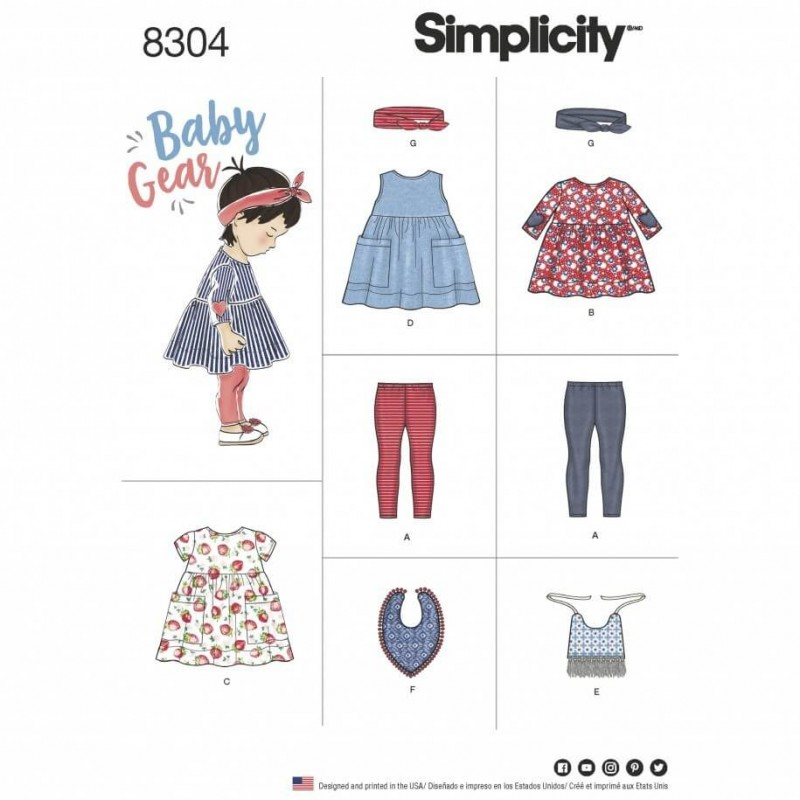 Babies Leggings, Top, Dress, Bibs and Headband Simplicity Sewing Pattern 8304