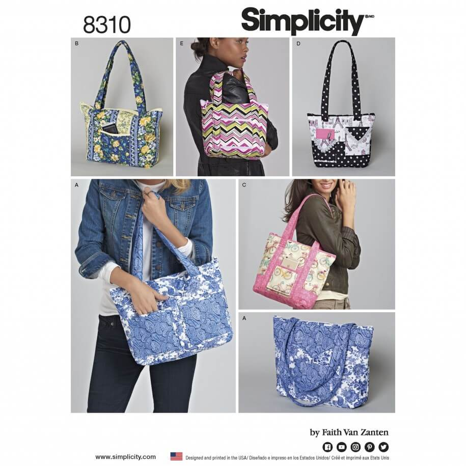 Quilted Bags in Three Sizes Accessories Simplicity Sewing Pattern 8310