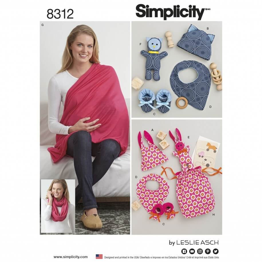 Babies Knit Baby Gifts and Nursing Shawl Simplicity Sewing Pattern 8312