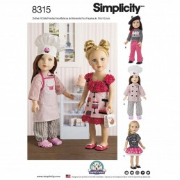 "18"" Doll Clothes French Chef Cook Outfits Toys Simplicity Sewing Pattern 8315"