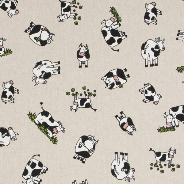 Buttercup The Cow Clover Field Cows 100% Cotton Linen Look Upholstery Fabric