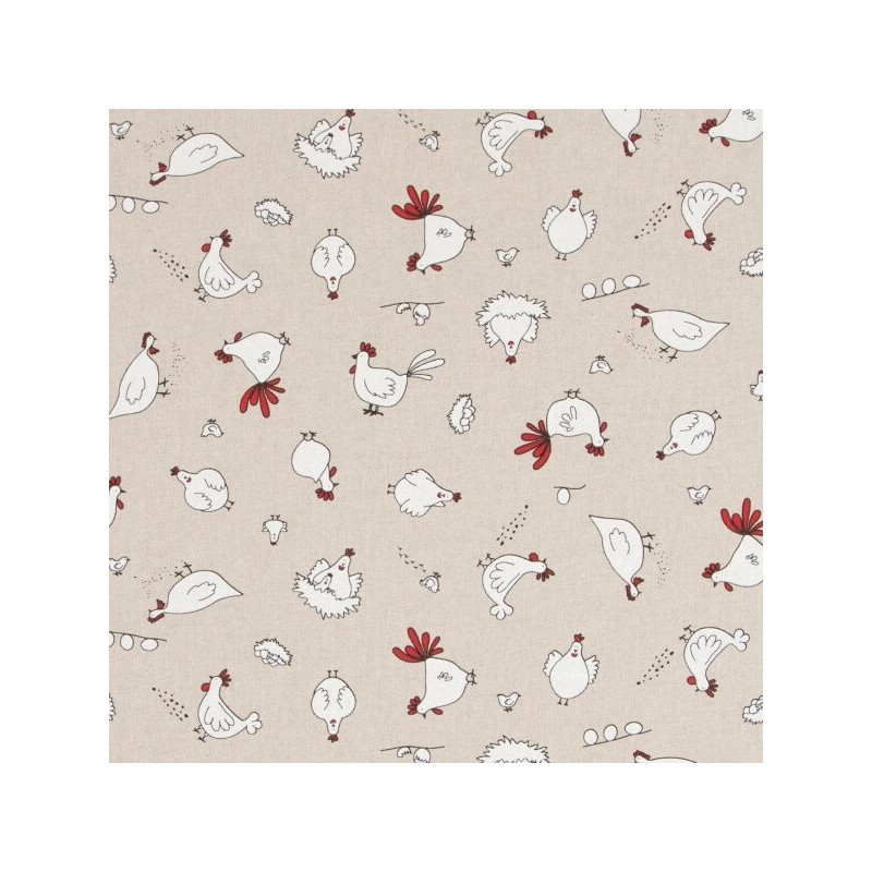 Free Range Chickens Hens Laying Eggs 100% Cotton Linen Look Upholstery Fabric