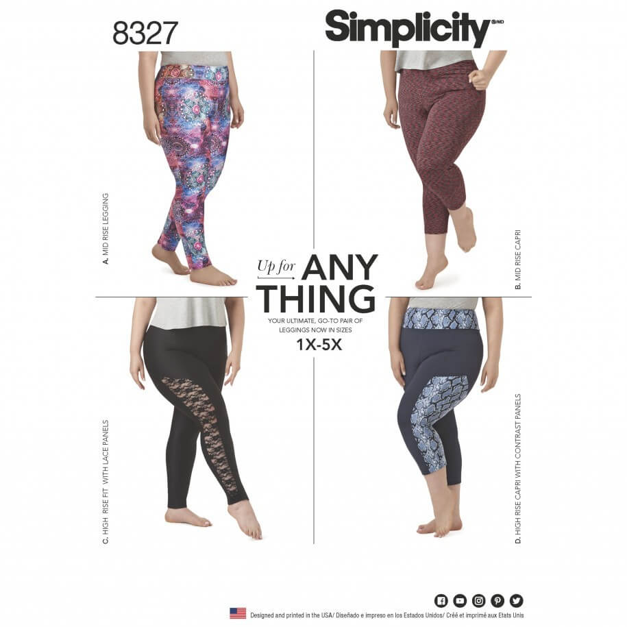 Women's Knit Legging With Length Variations Simplicity Sewing Pattern 8327