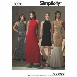 Simplicity Sewing Pattern 8330 Misses Dress with Skirt and Back Variations