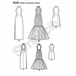 Misses Dress with Skirt and Back Variations Simplicity Sewing Pattern 8330