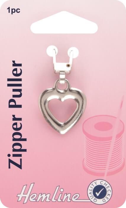 Hemline Silver Heart Coat / Jacket Zipper Pull