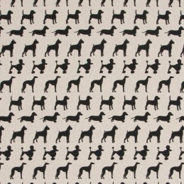 Black & White Dogs Breeds Puppies Dachshund Poodle 100% Cotton Linen Look Fabric