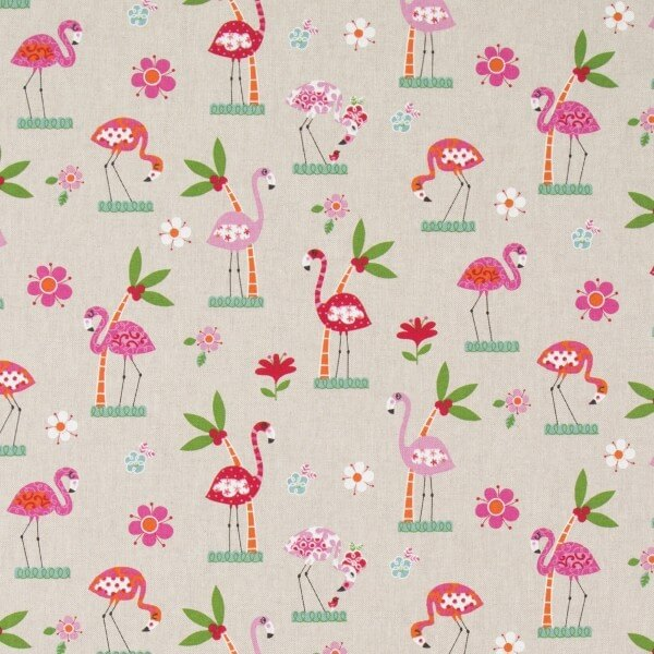 Bright Floral Flamingos Palm Trees And Flowers 100% Cotton Linen Look Fabric