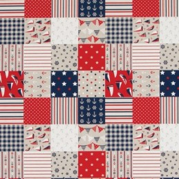 Nautical Patterned Patchwork Squares 100% Cotton Linen Look Upholstery Fabric