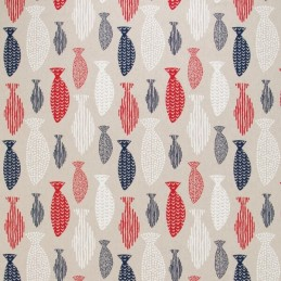 Nautical Red White Blue Patterned Fish 100% Cotton Linen Look Upholstery Fabric