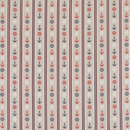 Nautical Stripes Anchors, Helms In Rows 100% Cotton Linen Look Upholstery Fabric
