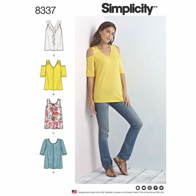 Misses Knit Tops with Bodice and Sleeve Variations Simplicity Sewing Pattern 8337