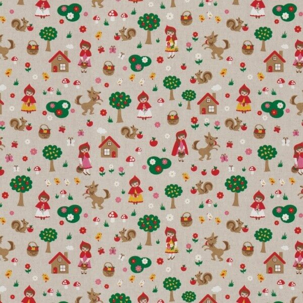 Little Red Riding Hood Granny's House 100% Cotton Linen Look Upholstery Fabric