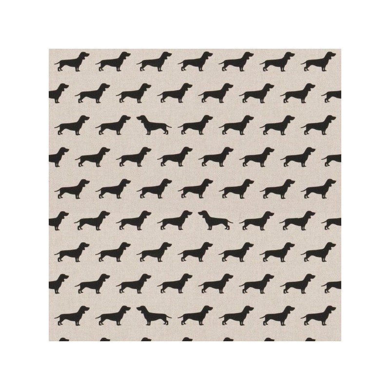 Bow Wow Dachshund Dogs Silhouette Rows 100% Cotton Linen Look Upholstery Fabric
