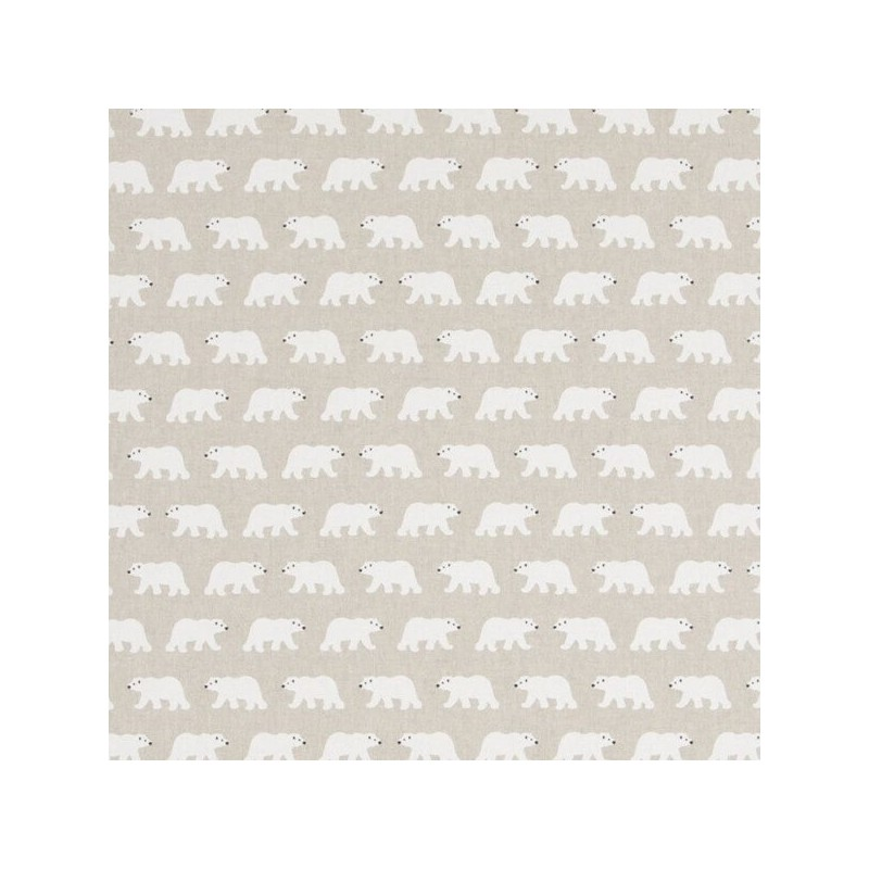 Arctic Big Pawed White Polar Bears 100% Cotton Linen Look Upholstery Fabric