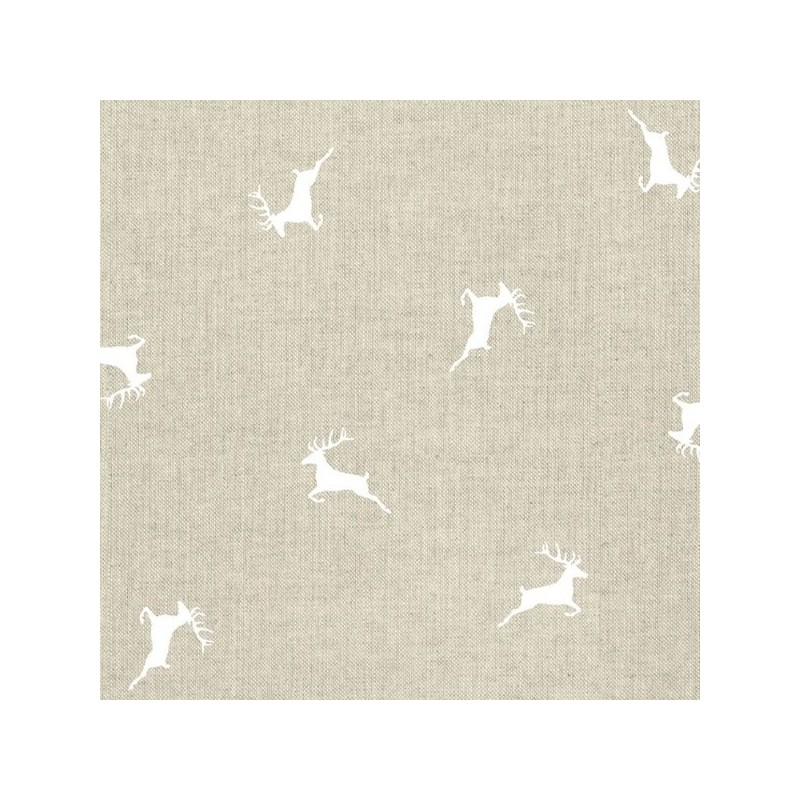 Scattered Silhouettes Leaping Stags 100% Cotton Linen Look Upholstery Fabric