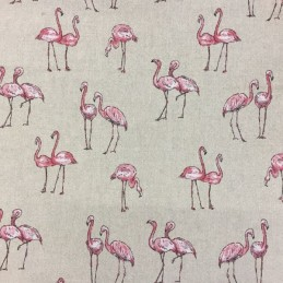 Pink Flamingos Print Cotton Linen Look Fabric