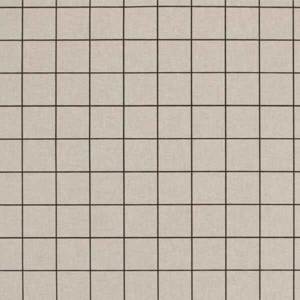 Black On Natural Square Grids Lines 100% Cotton Linen Look Upholstery Fabric