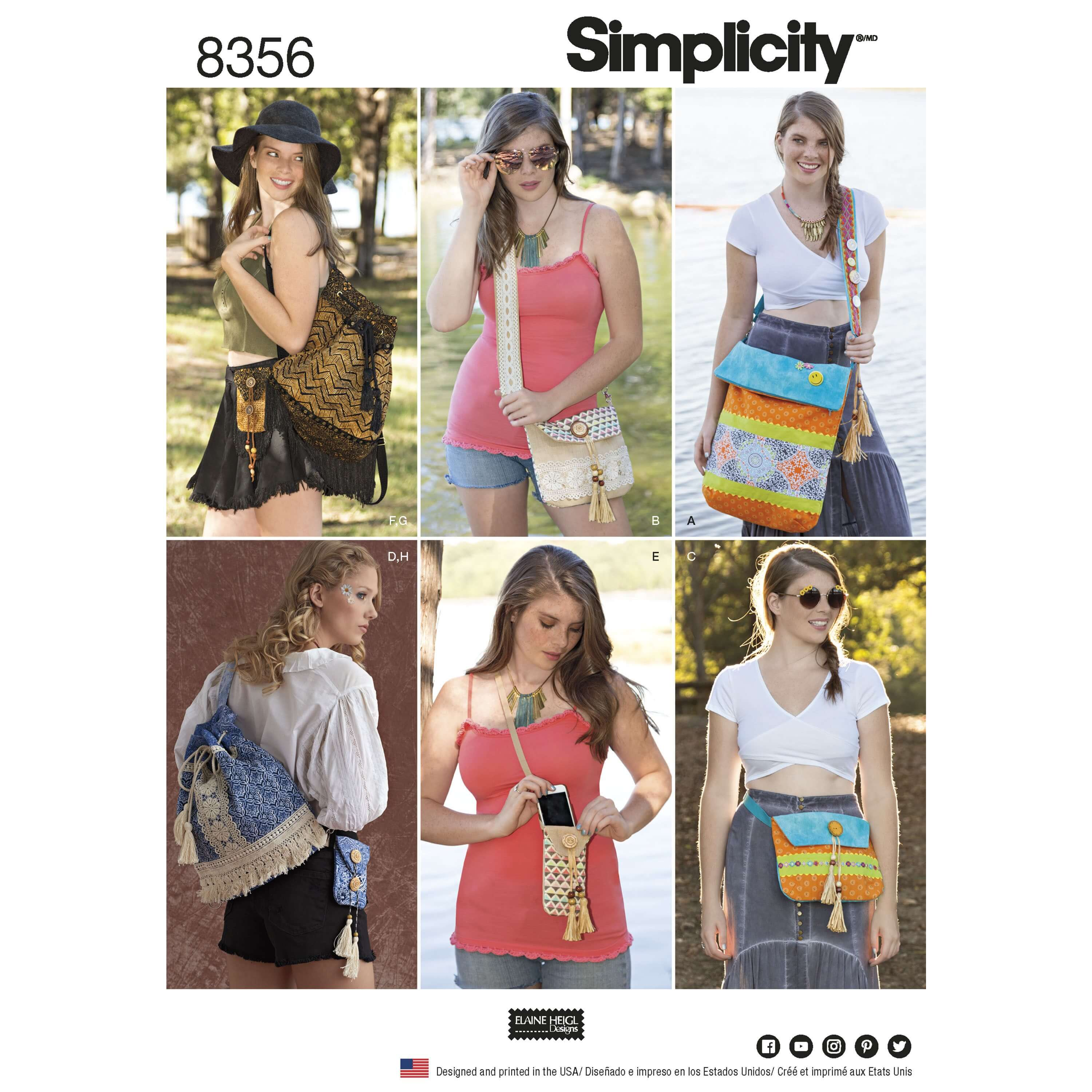 Festival Bags in Four Sizes Rucksack Satchel Simplicity Sewing Pattern 8356