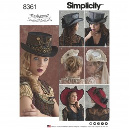 Costume Vintage Steampunk Hats in Three Sizes Simplicity Sewing Pattern 8361