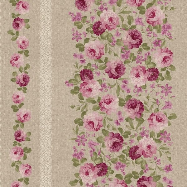 Peony Floral Bush Trellis Effect & Lace 100% Cotton Linen Look Upholstery Fabric