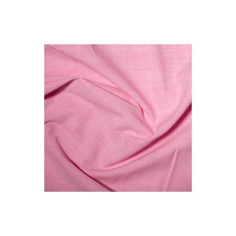 Pink 100% Cotton Linen Look Fabric Washed