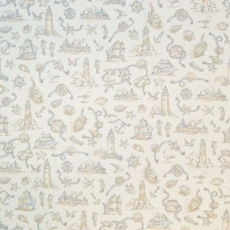 Sale 100% Cotton Upholstery Fabric Toile Seaside Nautical Lighthouse 140cm Wide