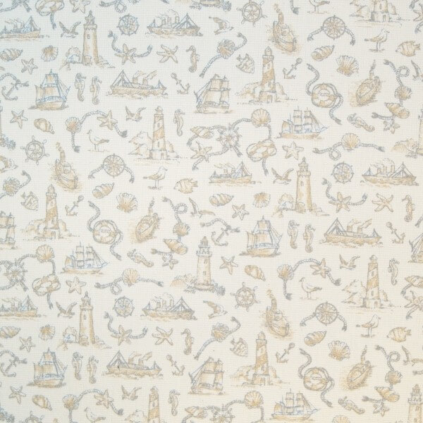 Toile Seaside Nautical Lighthouse 100% Cotton Upholstery Fabric 140cm Wide