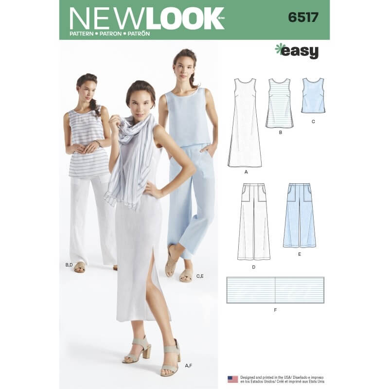 New Look Misses' Dress, Tunic, Top, Trousers, and Scarf Sewing Pattern 6517
