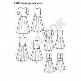 New Look Women's Dress with Open or Closed Back Variations Sewing Pattern 6508