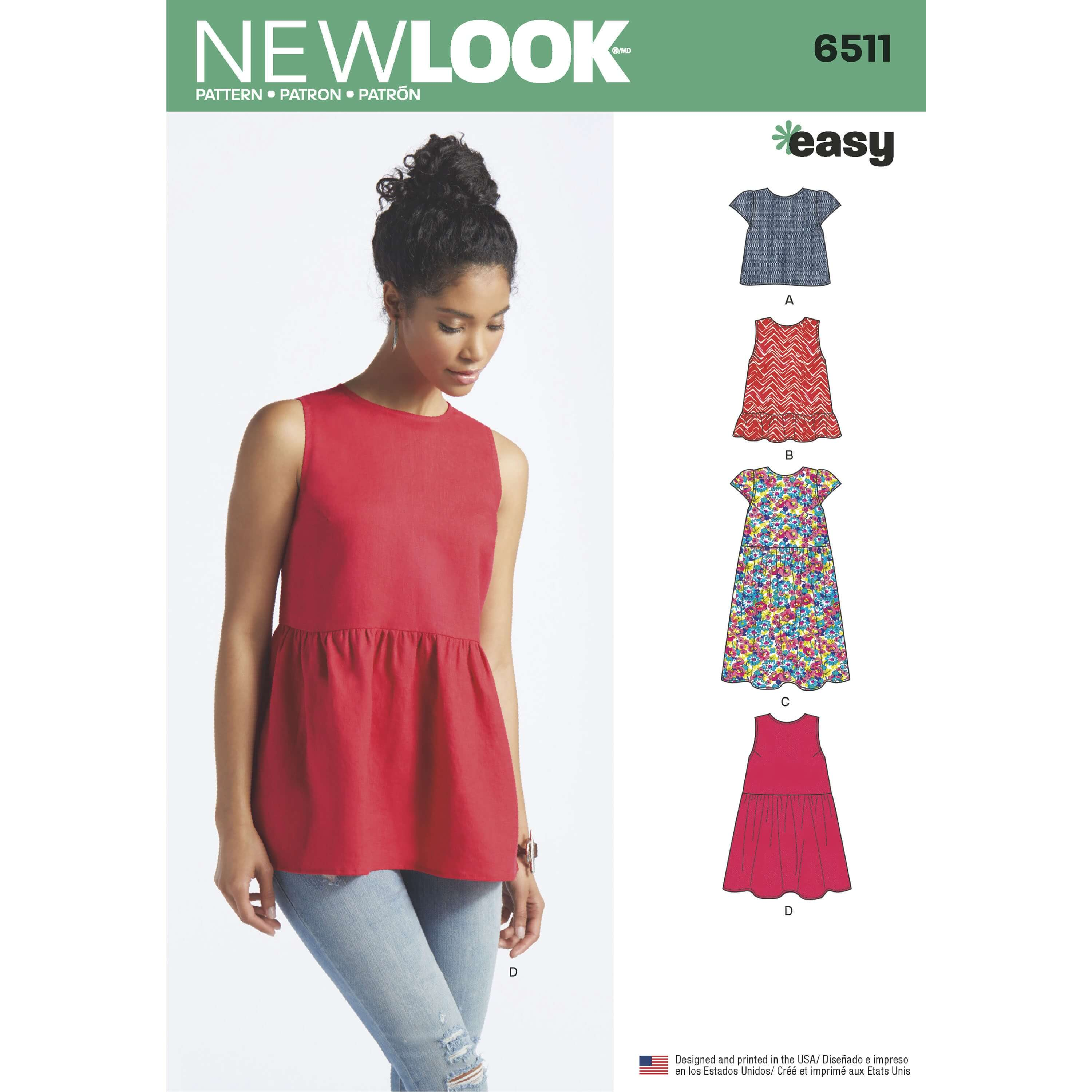 New Look Women's Tops With Length and Sleeve Variations Sewing Pattern 6511