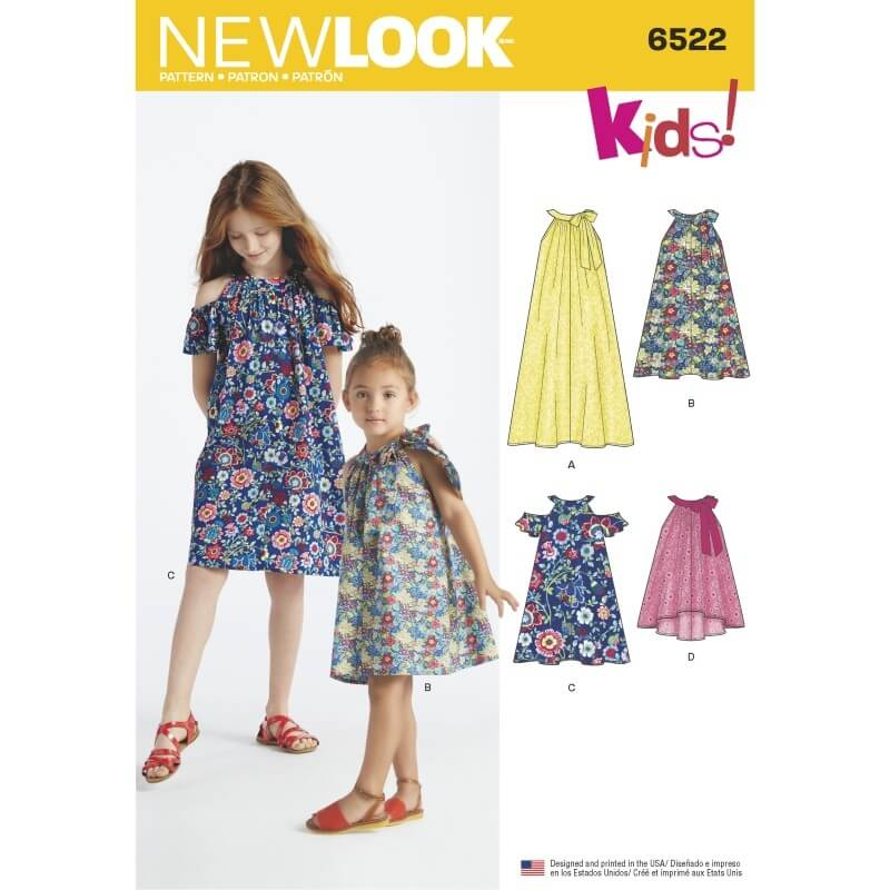 New Look Child's and Girls' Dresses and Top Sewing Pattern 6522