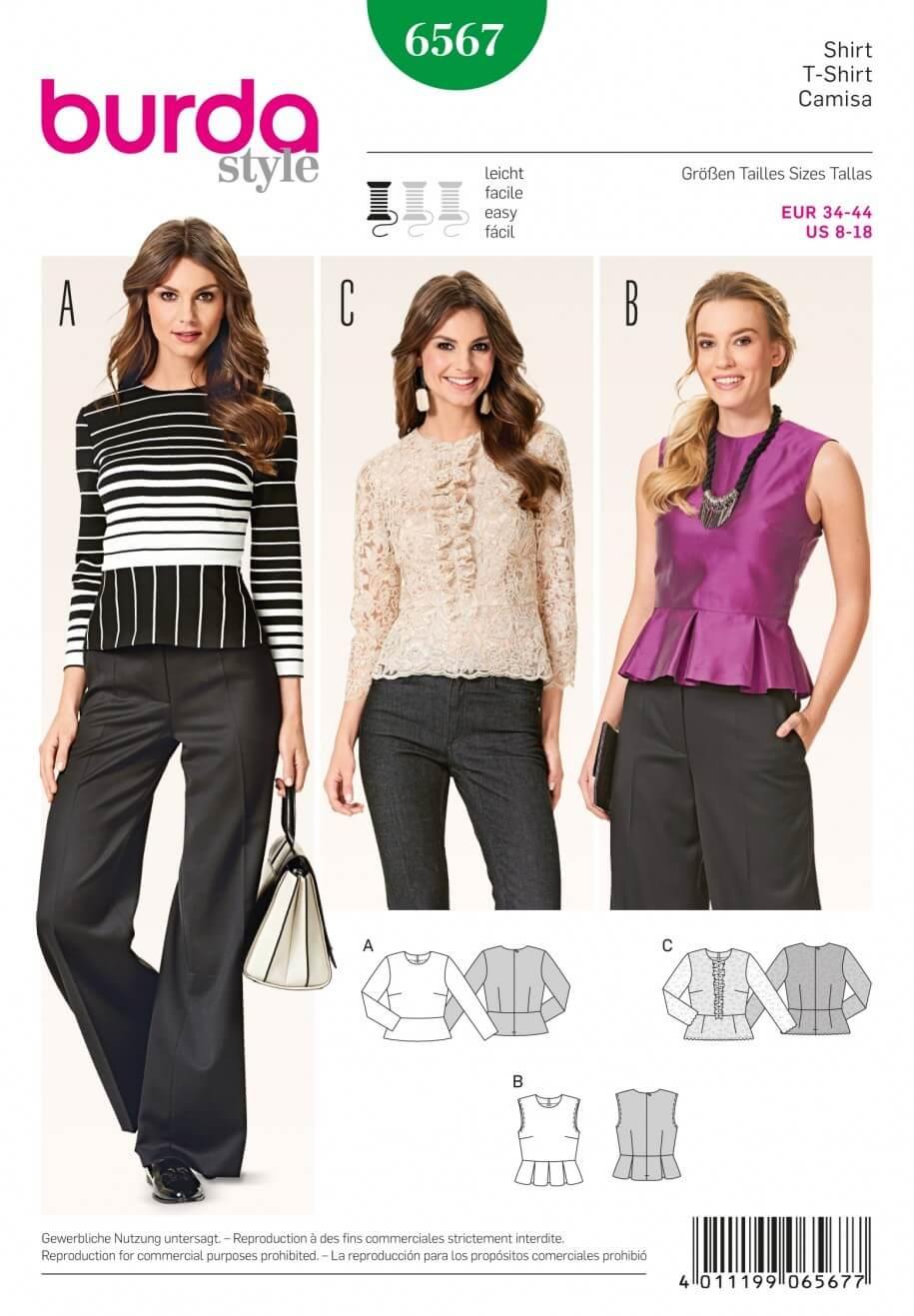 Burda Misses Peplum Hem Tops Shirts and Blouses Sewing Pattern 6567