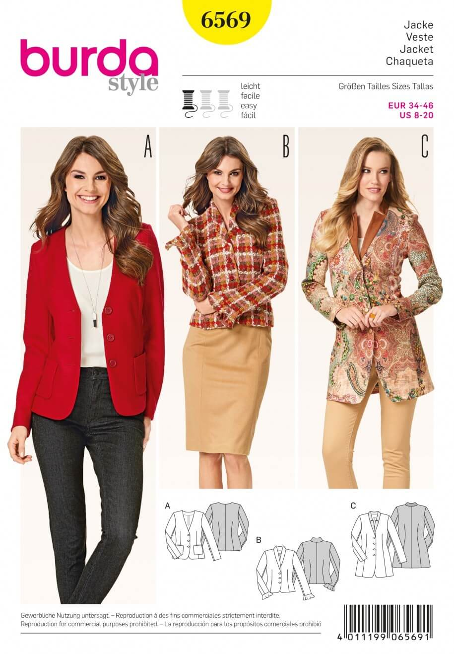 Burda Misses Blazers and Jackets Smart Casual Workwear Sewing Pattern 6569