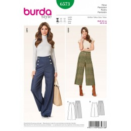Burda Misses Flare Bootcut Wide Leg Trousers Sewing Pattern 6573