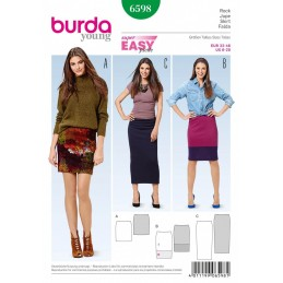 Burda Young Narrow Jersey Skirt Dress Sewing Pattern 6598
