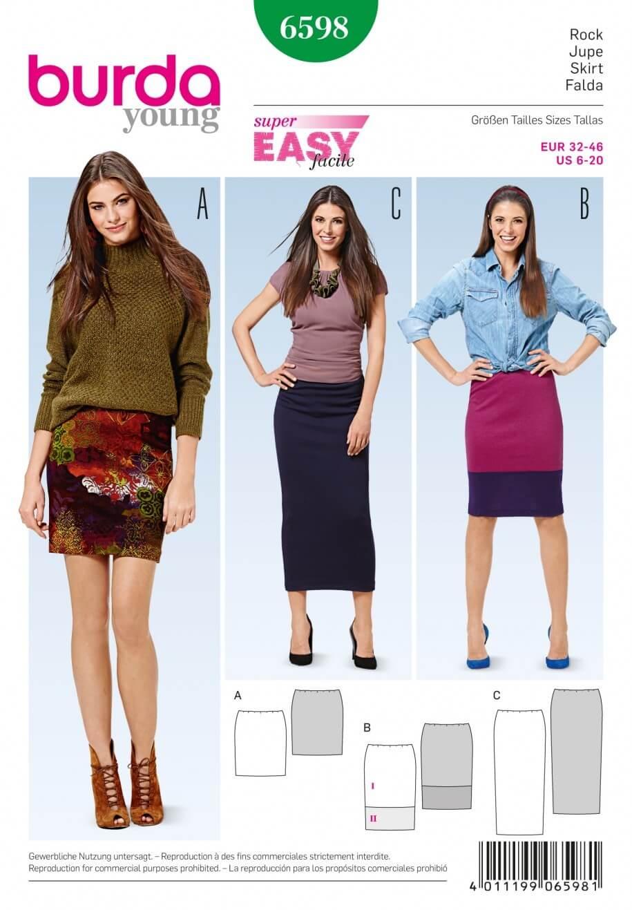 Burda Young Narrow Jersey Skirt Dress Sewing Pattern 6598